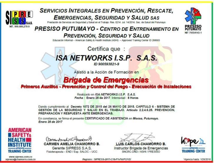 Certificado ISA 2017