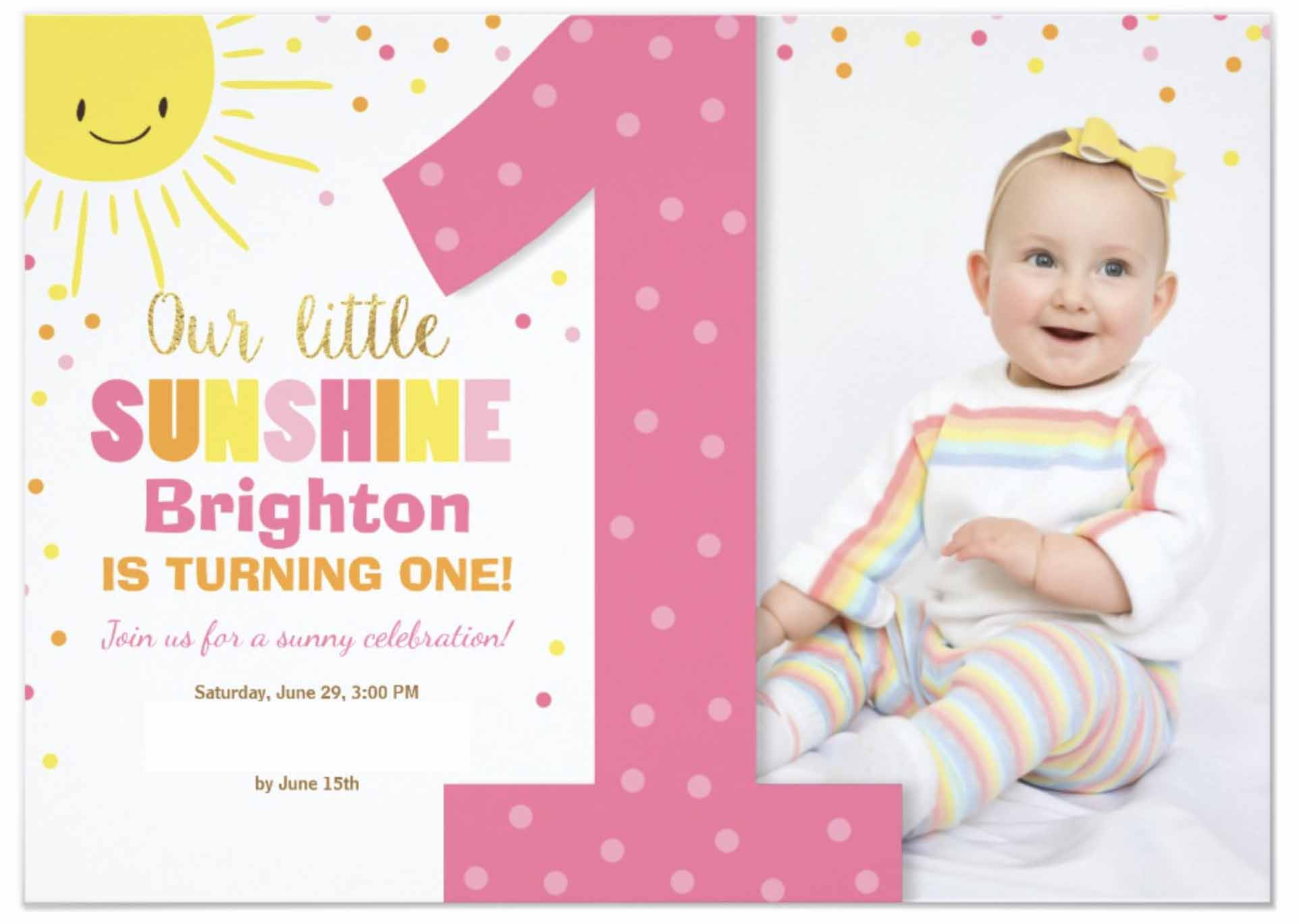 first birthday invitation, our little sunshine, sun, rainbow
