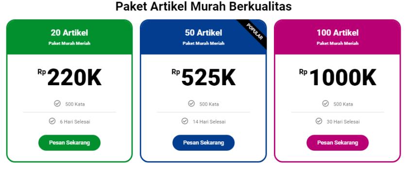 paket murah artikel SEO Bahasa Indonesia