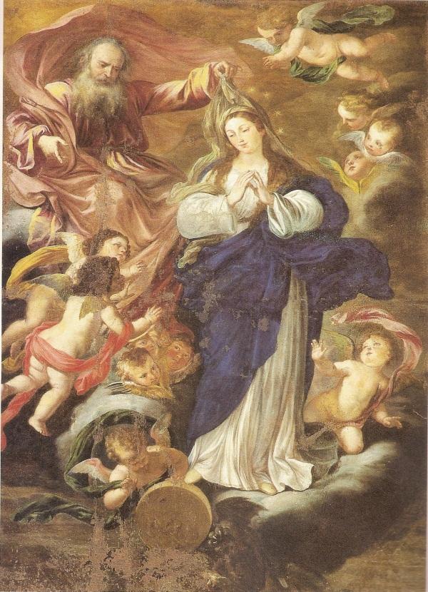 """Agostino Scilla """"Immacolata Concezione"""" (metà del 1600 circa) Chiesa del Monastero di Santa Maria, Siracusa (tela, cm 320 x 200)"""