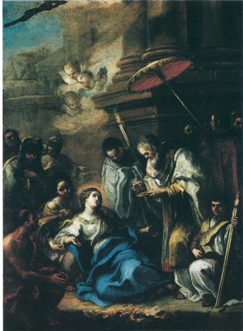 """Gaspare Serenario, """"Viatico di Santa Lucia"""", olio su rame, cm 50x35 (approssimativamente 1750)"""