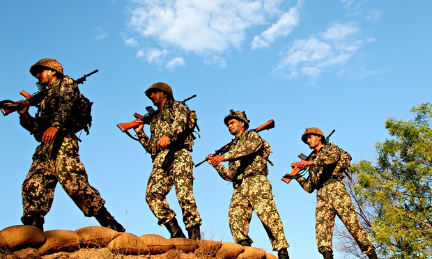 Border Security Personnel of India doing Patrol duty at India Pakistan border