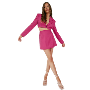 Aria Cove cropped boxy blazer co ord in hot pink