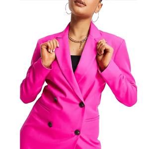 ASOS DESIGN sharp shoulder double breasted slim blazer in pink