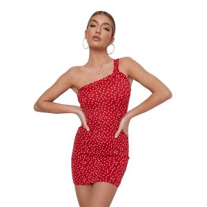 red polka dot asymmetric strap mini dress