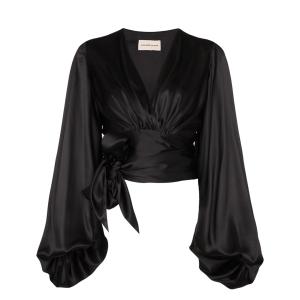 Alexandre Vauthier balloon-sleeve tie-side blouse