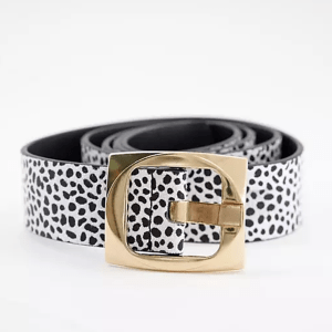 ASOS DESIGN Curve spot print gold buckle waist and hip jeans belt