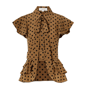 MICHAEL KORS COLLECTION Pussy-bow ruffled polka-dot silk-crepe top