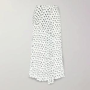 ROLAND MOURET Falun draped polka-dot plissé-chiffon midi skirt