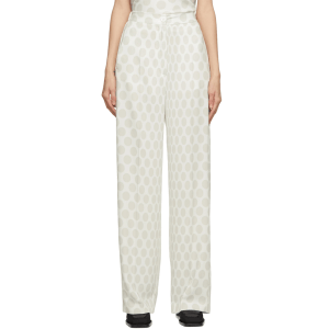MM6 MAISON MARGIELA White & Grey Polka Dot Fluid Trousers