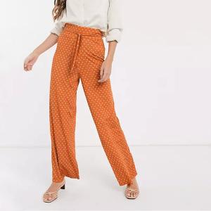 ASOS DESIGN tie waist wide leg trouser in spot print