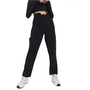 JDY high waist trousers with step front in black