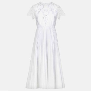 VALENTINO Sangalo embroidered cotton-blend midi dress