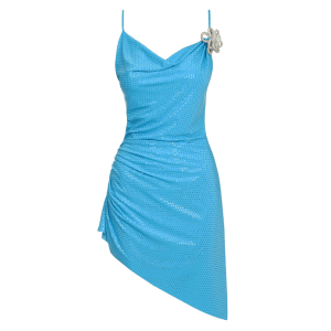 Mach & Mach Crystal-Embellished Glittered Satin Mini Dress