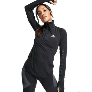adidas Training Motion long sleeve top with 1/4 zip in black