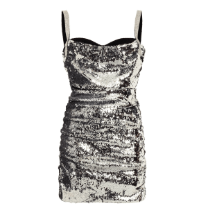 Dolce & Gabbana Crystal-Embellished Ruched Sequined Mini Dress