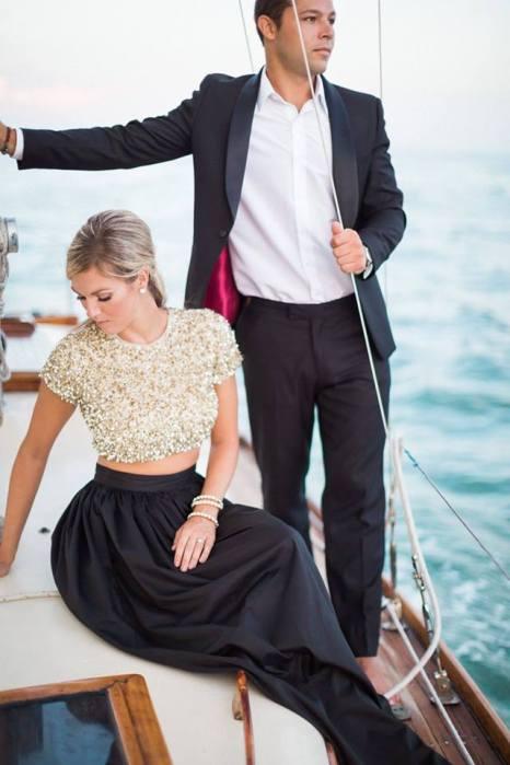 Salon Tease Yacht Engagement Photo Shoot