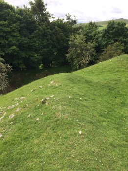 Image of masonry remains on motte at Painscastle