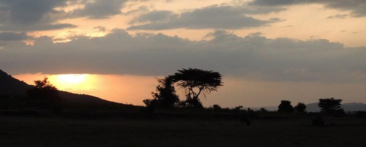 Sunset in Masai Mara, Kenya.