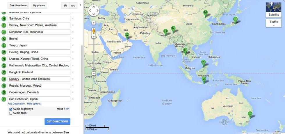 Sidney, Denpasar, Brunei, Tokyo, Pekin, Lhassa, Katmandu, Bangkok, Bombay Dubay.