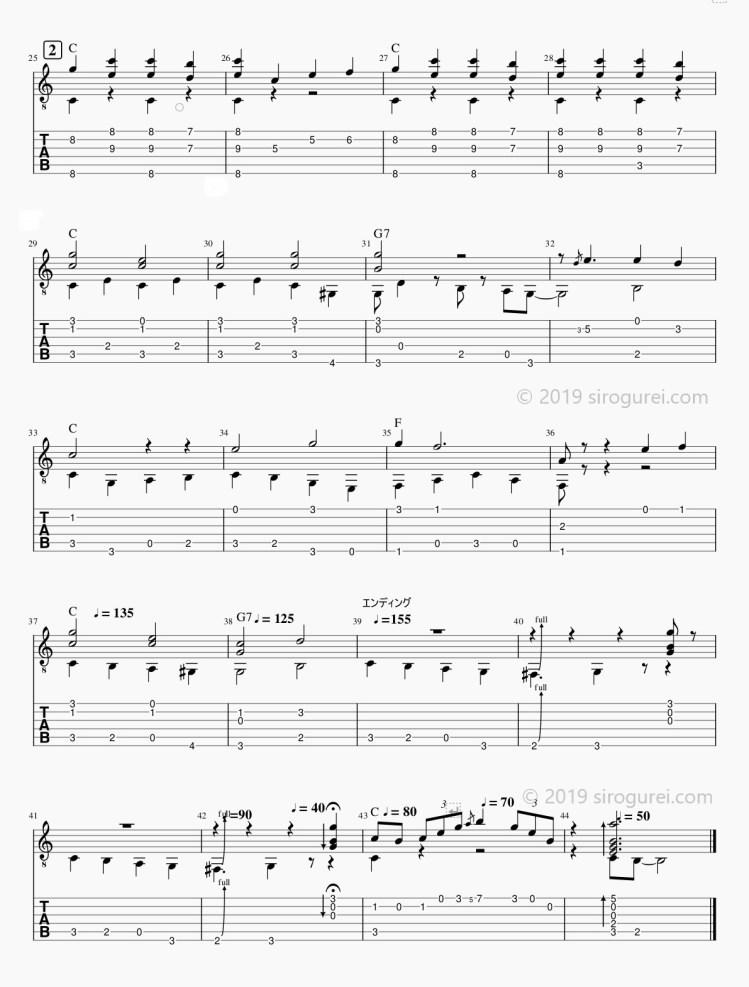 ソロギターtab 「When The Saints Go Marching In」/「聖者の行進」-2