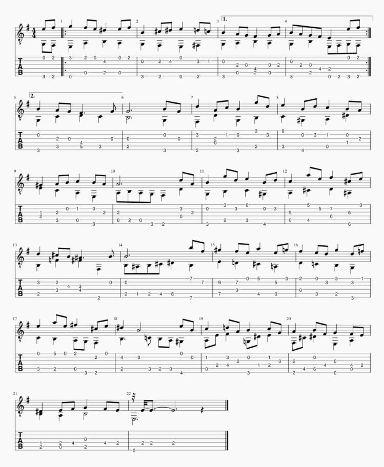 バッハ / ブーレ  J.S.Bach BWV_996 リュート組曲  Em-2-tab
