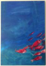 red fishes/ acrylic on board/ 80 x 100 cm