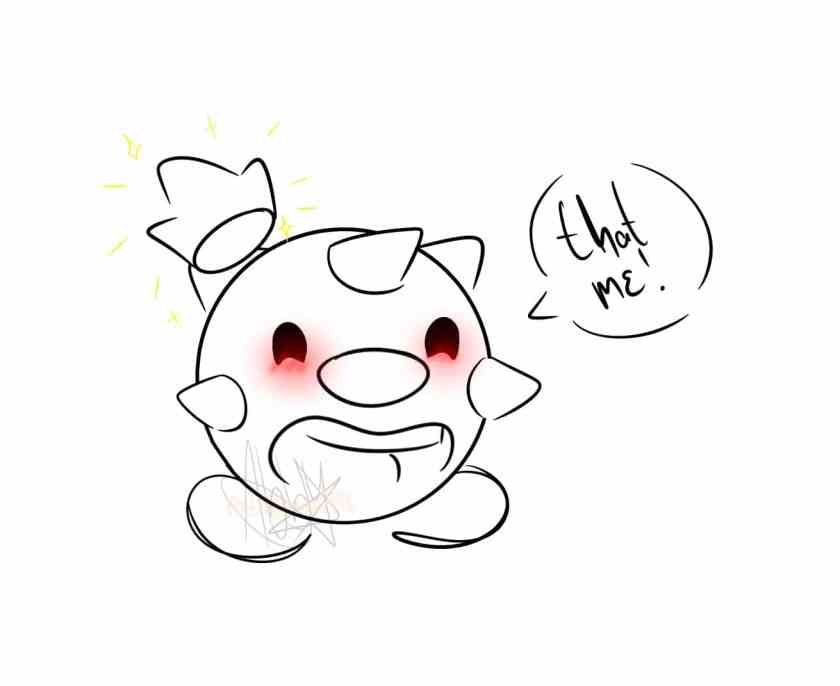"""A blushing TapTap with a floating crown happily shouting """"that me!"""""""