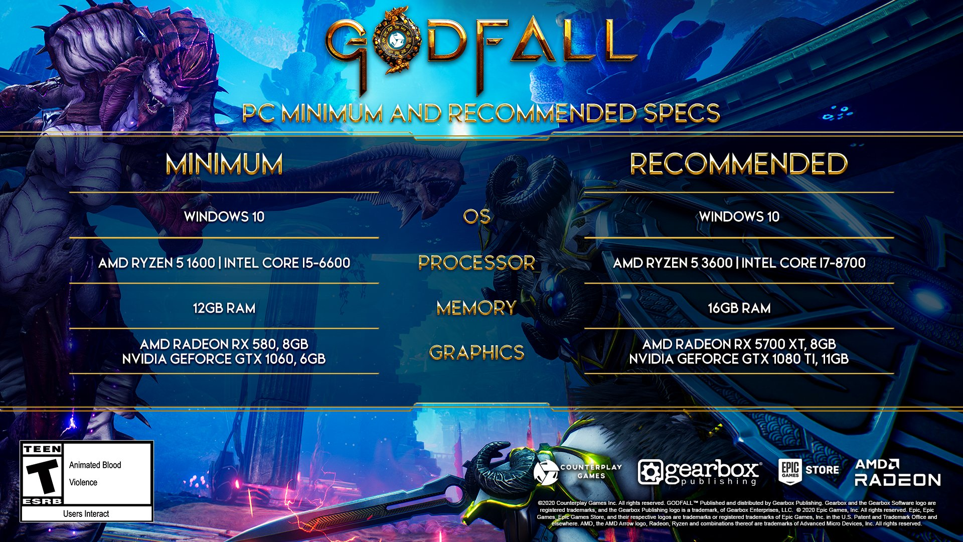 Godfall PC Specifications Requirements Revealed