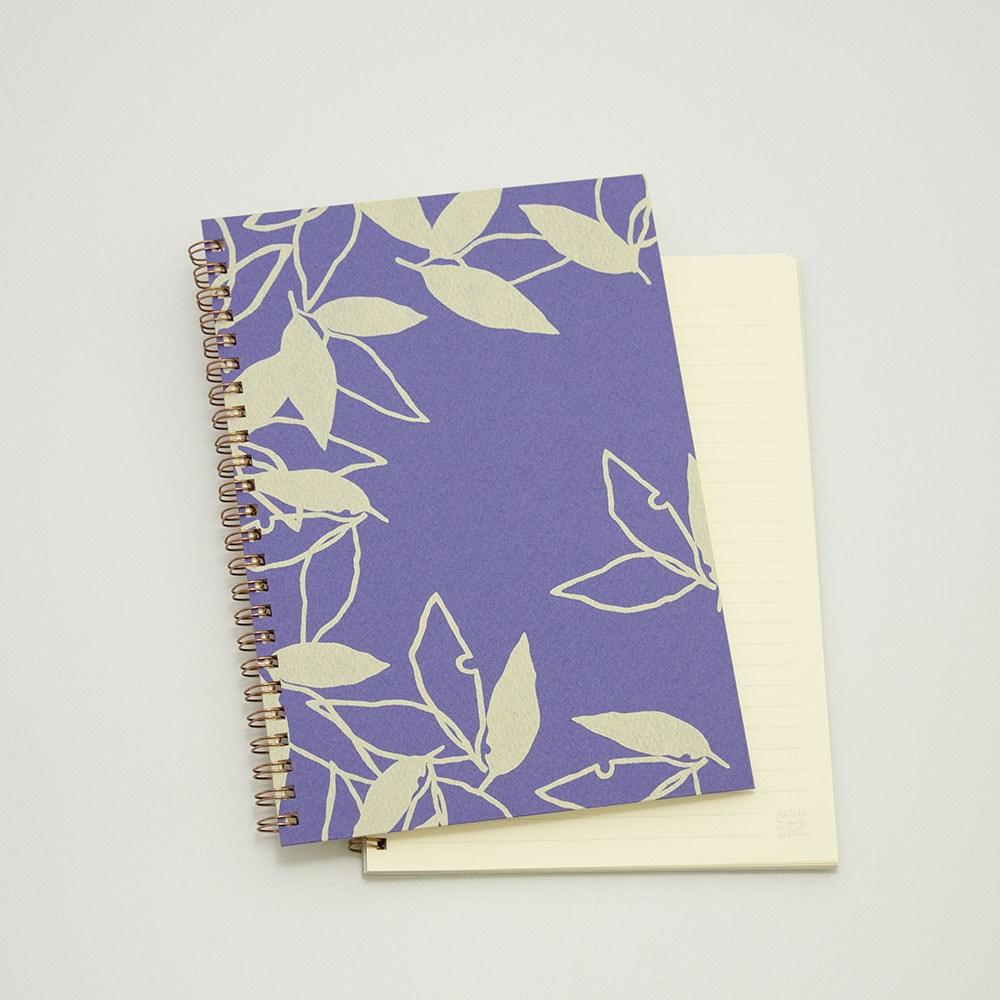葉模様×紫色
