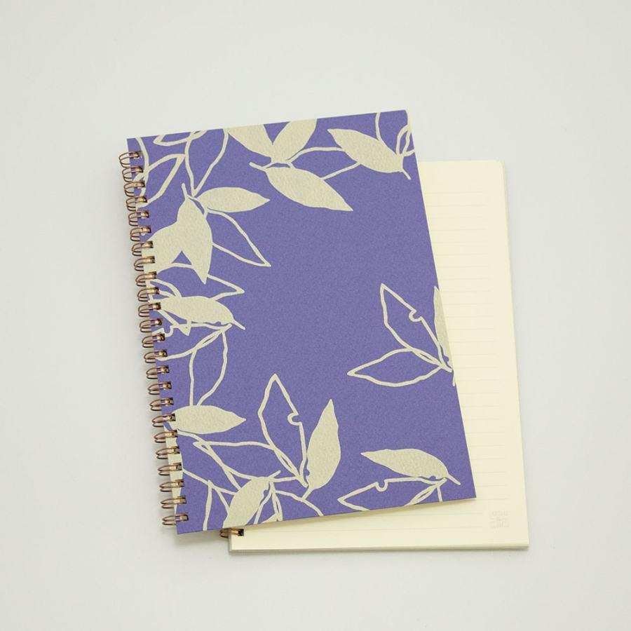 オーダーノート(A5)<br>葉模様×紫色