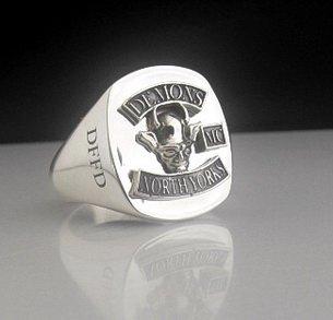 Demons MCC Bespoke Oxidized Emblem Ring