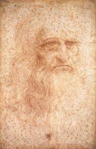 図2 レオナルド・ダ・ヴィンチの自画像 (レオナルド・ダ・ヴィンチ『自画像』33.3×21.3cm、トリノ王立図書館、紙・赤チョーク、1513年頃 / web gallery of art)