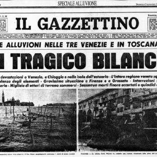 図1. フィレンツェとヴェネツィアでの洪水被害を伝える新聞記事(11月6日)