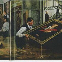 図7)ウンベルト・バルディーニとチェーザレ・ブランディの作品救出作業スケッチ National Geographic, Vol.132, No. 1, 1967 July, pp. 30-31