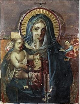 図3 マエストロ・デッラ・マッダレーナ《聖母子像》1300年代 国立輝石修復研究所アーカイヴセンター