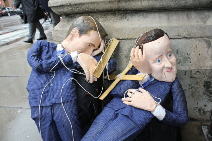 PM David Cameron Puppet, Royal Court of Justice, London UK 2012