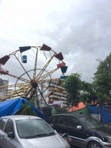 A ferris wheel from a recent carnival in Lallubhai
