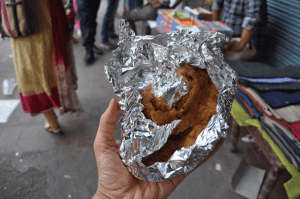 Spiced Almond Stuffed Parantha from Parantha Wali Gali (an entire alley street devoted solely to different types of this North Indian fried bread)