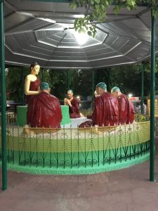 The Buddha and his disciples at Saranath.