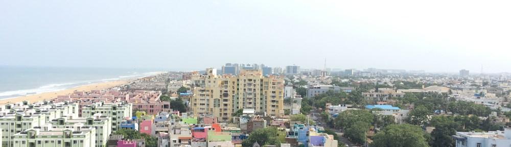 Skyline of Chennai from the Marinas Lighthouse