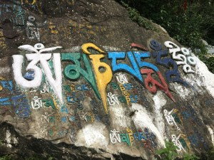 One of many rocks with a mantra painted on them along the Kora