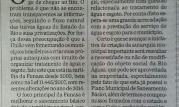 Frederico Sanches: Água sem transparência União vem fomentando os municípios brasileiros a criar suas próprias autarquias com intuito de organizar tratamento de água e esgoto O DIA Rio – O […]