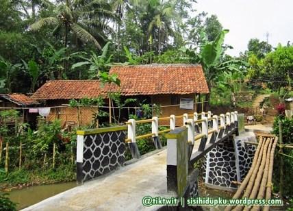 Jembatan yang masih baru. Beberapa ruas bambu disebelahnya merupakan jembatan lama.