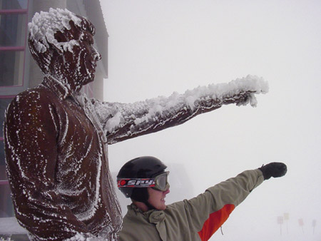 Frozen Statue: Pine Marten Lodge, Mt. Bachelor