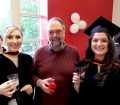 Sessional lecturer Gordon Burr, MLIS '98, with graduating MLIS students Marnie Seal (left) and Caroline Goulding (right).