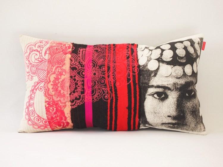 Coussin Nejma rouge, rose et noir - collection berbère - sissimorocco