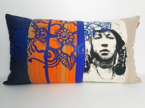 Coussin Berbère sissimorocco Fleur Bleu et Orange