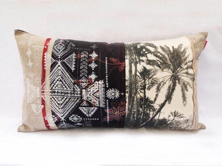 Housse Coussin Berbère Palmier Noir et Blanc