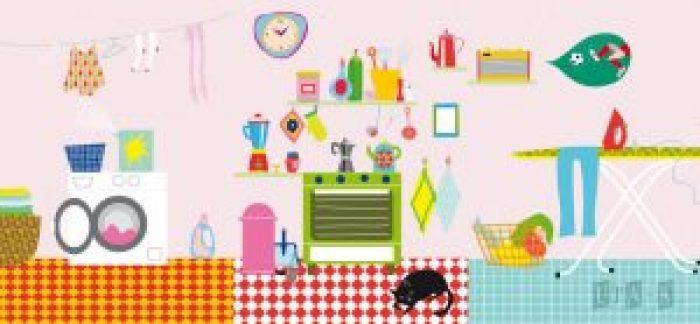 illustration haushalt waschen kochen buegeln